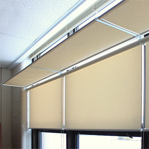 Roller Shades with anti-glare pivoting panels.
