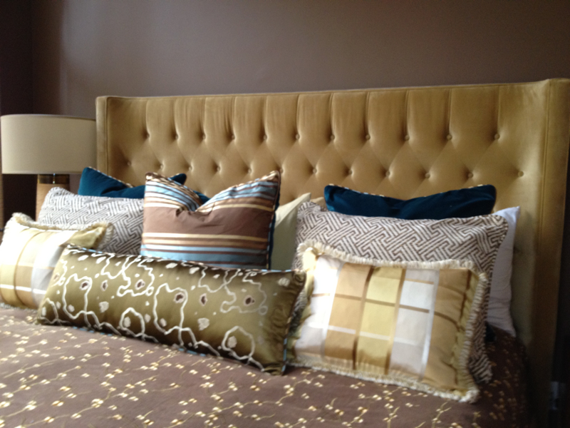 Custom made Upholstered and Pillows  shapes & fabric selection by designer
