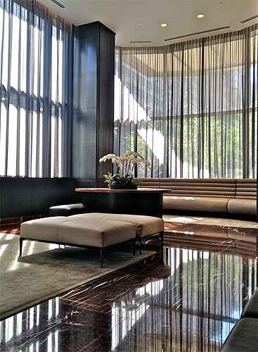 Sheer drapery in building entry lobby